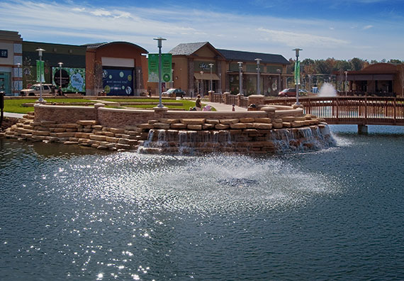 Fallen Timbers is an open air retail complex in Northwest Ohio. Over 2,000 trees, 12,000 shrubs and 27,000 perennials were installed.