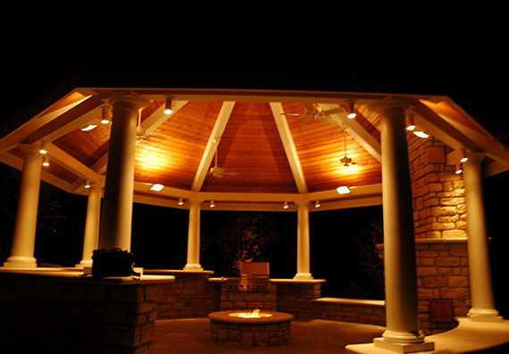 Add a dramatic flare to your home even during the nighttime, while also adding an extra sense of security, with landscape lighting from Peabody Landscape Group.