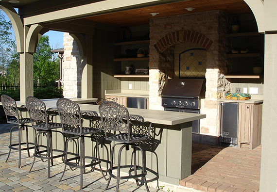 Bring the indoors outdoors with a great outdoor room or outdoor kitchen designed and installed by Peabody Landscape Group.