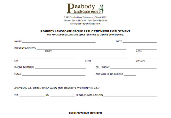 Fill out an application to join the team at Peabody Landscape Group